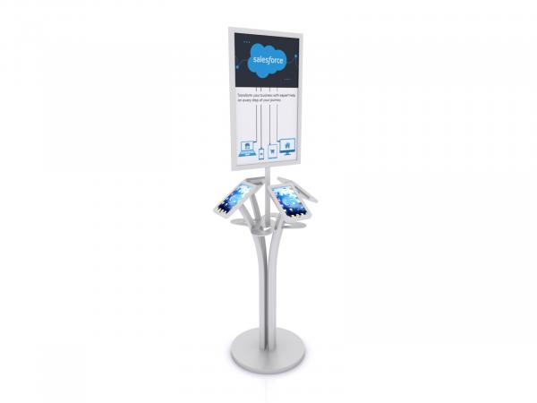 MOD-1347M Portable iPad Kiosk with Signholder-- Silver -- Laminated Base with Wire Management